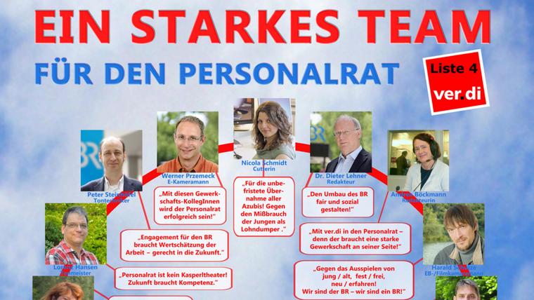 Das Plakat mit den ver.di-Kandidatinnen und -Kandidaten zur Personalratswahl im Bayerischen Rundfunk