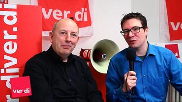 Manfred Kloiber vom Deutschlandradio und David Jacobs vom ver.di Senderverband WDR im Gespräch über die Situation der Freien im Rundfunk
