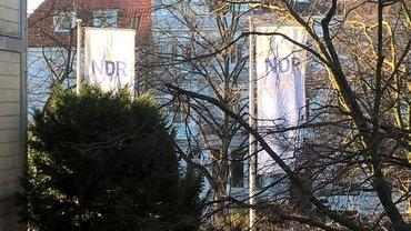 Blick aus einem Sitzungsraum auf Bäume und NDR-Fahnen