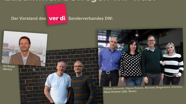Der neue Vorstand der ver.di-Betriebsgruppe Deutsche Welle: Uli Riedel, Dag Liebezeit, Klaus Barm, Fabian Schmidt, Dijana Roscic, Michael Stegemann (Vorsitz), Dana Kremer