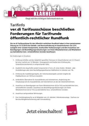 Tarifinfo mit den Forderungen von ver.di in der Tarifrunde 2017 öffentlich-rechtlicher Rundfunk