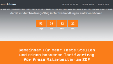 Screenshot der Website www.zdfcountdown.de