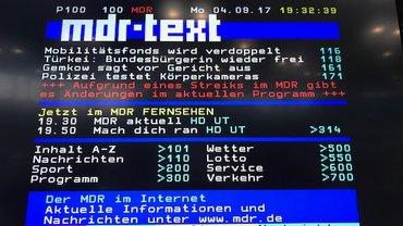 Videotext des MDR mit der Ankündigung, dass es aufgrund eines Warnstreiks zu Programmänderunge n kommt