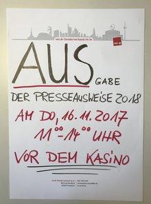 Plakat Ausgabe Presseausweise 2018