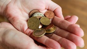 verschiedene Euromünzen auf einer Hand