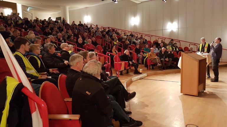 Vollbesetzte Streikversammlung beim NDR in Hamburg am 14. November 2019