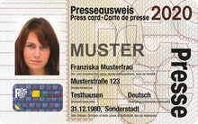 Muster des Presseausweises 2020