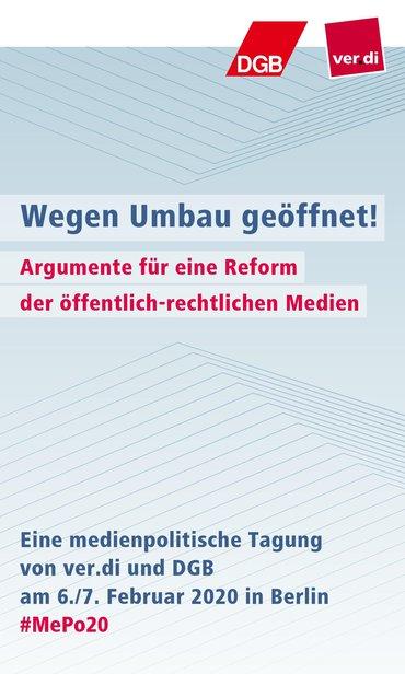 """SharePic für die Medienpolitische Tagung 2020 """"Wegen Umbau geöffnet!"""" mit den wichtigsten Infos zur Veranstaltung"""