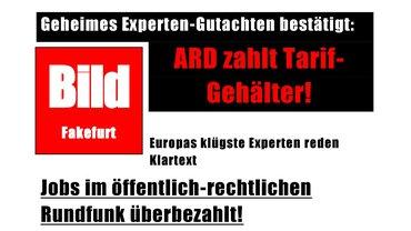 """Satire-Cover der Zeitung """"Bild Fakefurt"""" (orientiert am BILD-Design), in der es um ein geheimes Gutachten der KEF zu den Gehältern im öffentlich-rechtlichen Rundfunk geht."""