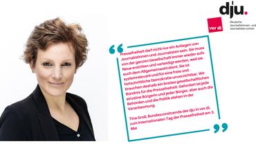 Zitat und Porträtfoto der dju-Bundesvorsitzenden Tina Groll zum Internationalen Tag der Pressefreiheit 2021