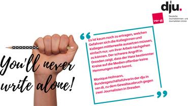 Zitat von Monique Hofmann, danaben eine Faust mit einem Stift in der Hand